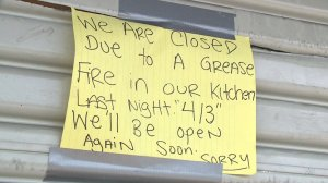 Ranchwood BBQ and Catering posted a sign on their door after a fire damaged the kitchen