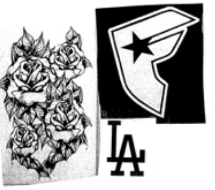 Tattoos similar to those on the right forearm of the suspect.