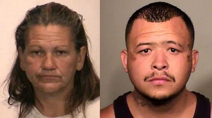 Modesto Police arrested Maria Anzaldua (left) and Raymond Chavez for engaging in sexual acts on a grassy area in a busy intersection. (Photos courtesy: Stanislaus County Sheriff's Department)