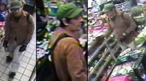 Surveillance photos of man suspected of series of grisly attacks on homeless men. (San Diego Police)