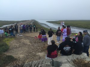 Several dozen people from the Kumeyaay Nation gathered near Naval Amphibious Base in Coronado to protest the Navy's construction of a new SEAL training center on 'sacred burial ground.'