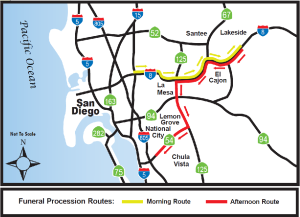 Route for funeral procession honoring SDPD Officer DeGuzman scheduled for Friday, Aug. 5, 2016.