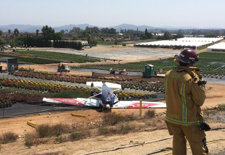 A plane landed upside down after crashing at the airport in Fallbrook. (Photo: North County Fire Dept. Richard Berry)