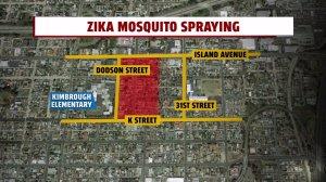 Map: Zika virus preventative spraying