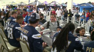Chargers players greet fans at the annual blood drive,