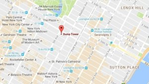 """Trump Tower in midtown Manhattan was briefly renamed to """"Dump Tower"""" on Google Maps on Nov. 27, 2016."""