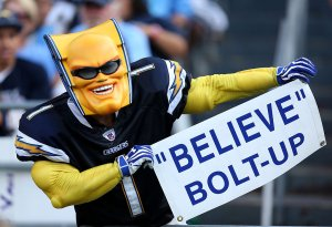 """The Chargers fan know as """"Boltman"""" (Getty Images)"""