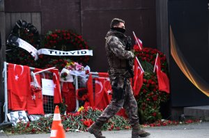 A Turkish special force police officer patrols in front of the Reina nightclub on Jan. 4, 2017, in Istanbul, three days after a gunman killed 39 people on New Year's night. (Getty Images)