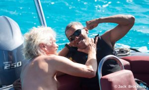 Before returning to Washington, the former president Barack Obama dove into an aquatic and athletic challenge with his friend, Virgin Group founder and billionaire Richard Branson, while vacationing on the British Virgin Islands with former first lady Michelle Obama.