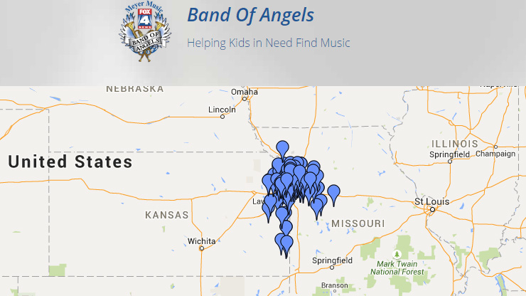 Band of Angels distributes instruments to schools and students. This map shows the locations of the beneficiaries of the instruments. Click here for more from Band of Angels.