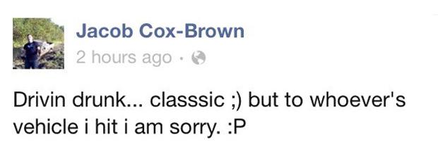 Jacob Cox-Brown Facebook Status