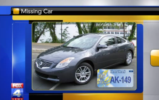 Sasko's missing vehicle; a 2008 Nisan Altima