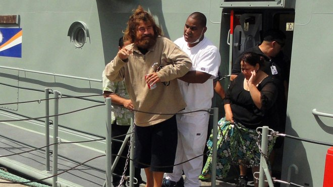 El Salvadoran national Jose Salvador Alvarengo arrived in the Marshall Islands Sunday, February 2, 2014 following his rescue. Alvarengo survived more than a year adrift in the Pacific Ocean