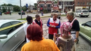 Red Cross was on the scene to help parents and children and the church.