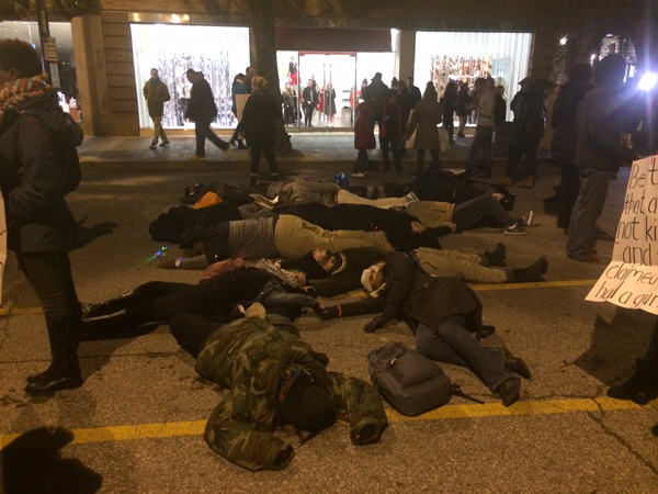 """The """"die-in"""" protest Thursday night at the Country Club Plaza during the lighting ceremony."""