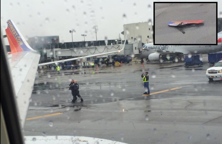 The wing of a Southwest Airline was clipped. (Photos by Christiana Peppard)