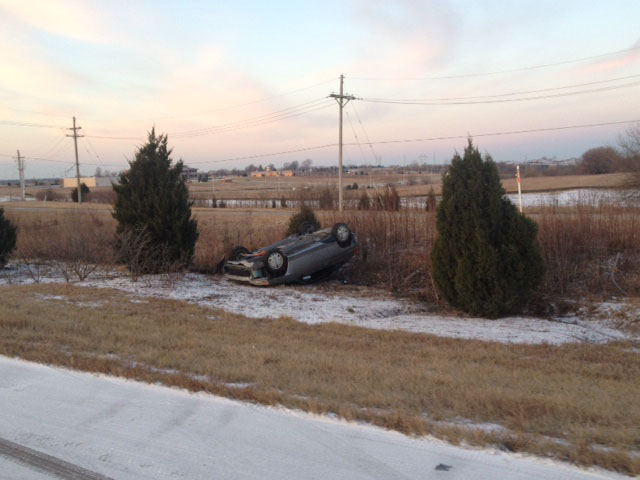 Accident: Car rolls over at K-7 north of College