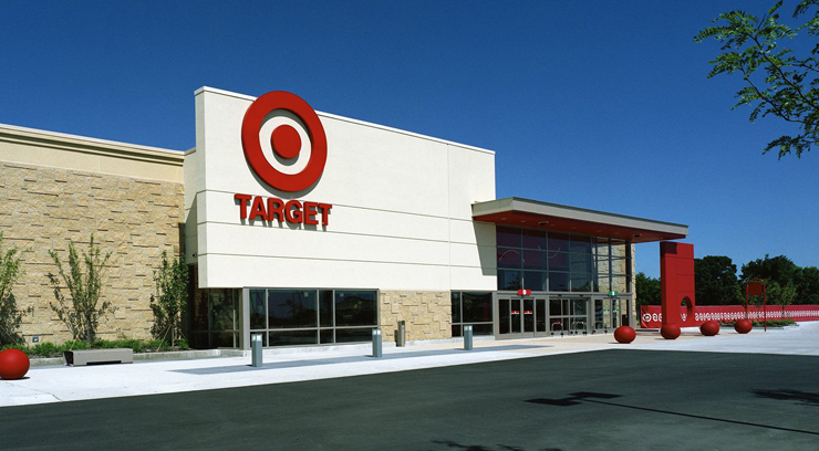 An exterior photograph of a Target store in Waukesha, Wisconsin.