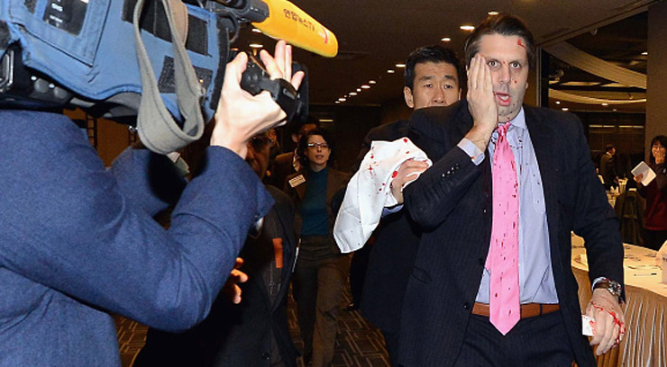 American ambassador in Seoul attacked by man ranting against U.S. military drills