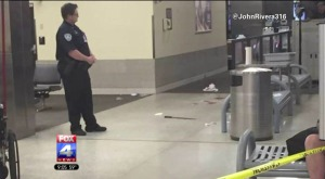 A machete lies on the floor of Louis Armstrong New Orleans International Airport following a bizarre attack on Friday. (Photo: Craig Robinson)