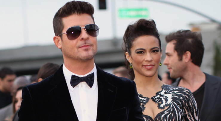 LOS ANGELES, CA - JANUARY 26: Singer Robin Thicke and actress Paula Patton attend the 56th GRAMMY Awards at Staples Center on January 26, 2014 in Los Angeles, California.  (Photo by Christopher Polk/Getty Images for NARAS)