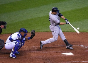 KANSAS CITY, MO - MAY 16:  Carlos Beltran #36 of the New York Yankees hits a single in the fifth inning against the Kansas City Royals at Kauffman Stadium on May 16, 2014 in Kansas City, Missouri. (Photo by Ed Zurga/Getty Images)