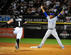 Alcides Escobar #2 of the Kansas City Royals yells for throw to second base as Adam Eaton #1 of the Chicago White Sox is safe during the seventh inning on July 17, 2015 at U.S. Cellular Field  in Chicago, Illinois. (Photo by David Banks/Getty Images)