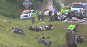 The scene following a crash involving a tractor-trailer and parked motorcycles along I-85 in North Carolina on Friday (Credit: MyFOX8.com)