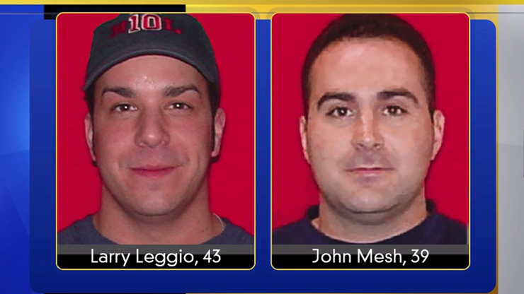 Two firefighters killed Oct 12 fighting a fire: Larry Leggio and John Mesh.