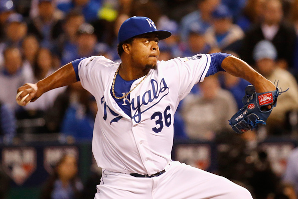 Edinson Volquez during game one of the American League Championship Series at Kauffman Stadium on October 16, 2015 in Kansas City, Missouri.