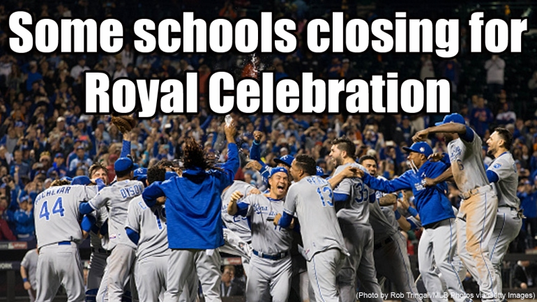 NEW YORK, NY - NOVEMBER 1: Members of the Kansas City Royals celebrate on the field after defeating the New York Mets in Game 5 of the 2015 World Series at Citi Field on Sunday, November 1, 2015 in the Queens borough of New York City. (Photo by Rob Tringali/MLB Photos via Getty Images)