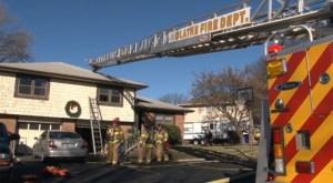Olathe fire crews tend to a house fire on W. Ashbury Street. Photo courtesy of the Olathe Fire Department.