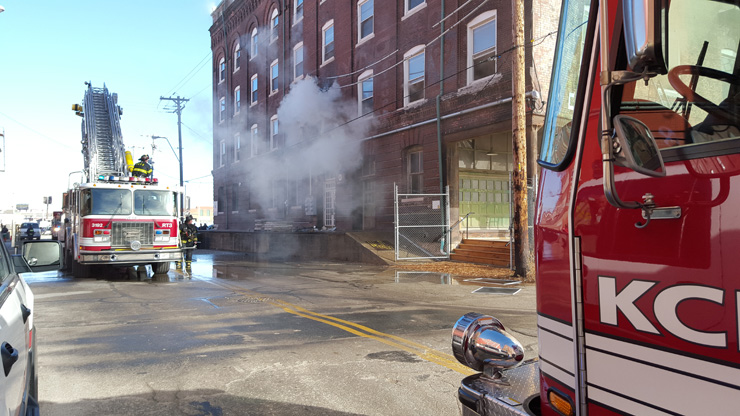 In the West Bottoms, at 1331 St. Louis Ave., KCMO Firefighters respond to a fire at a building with apartments.