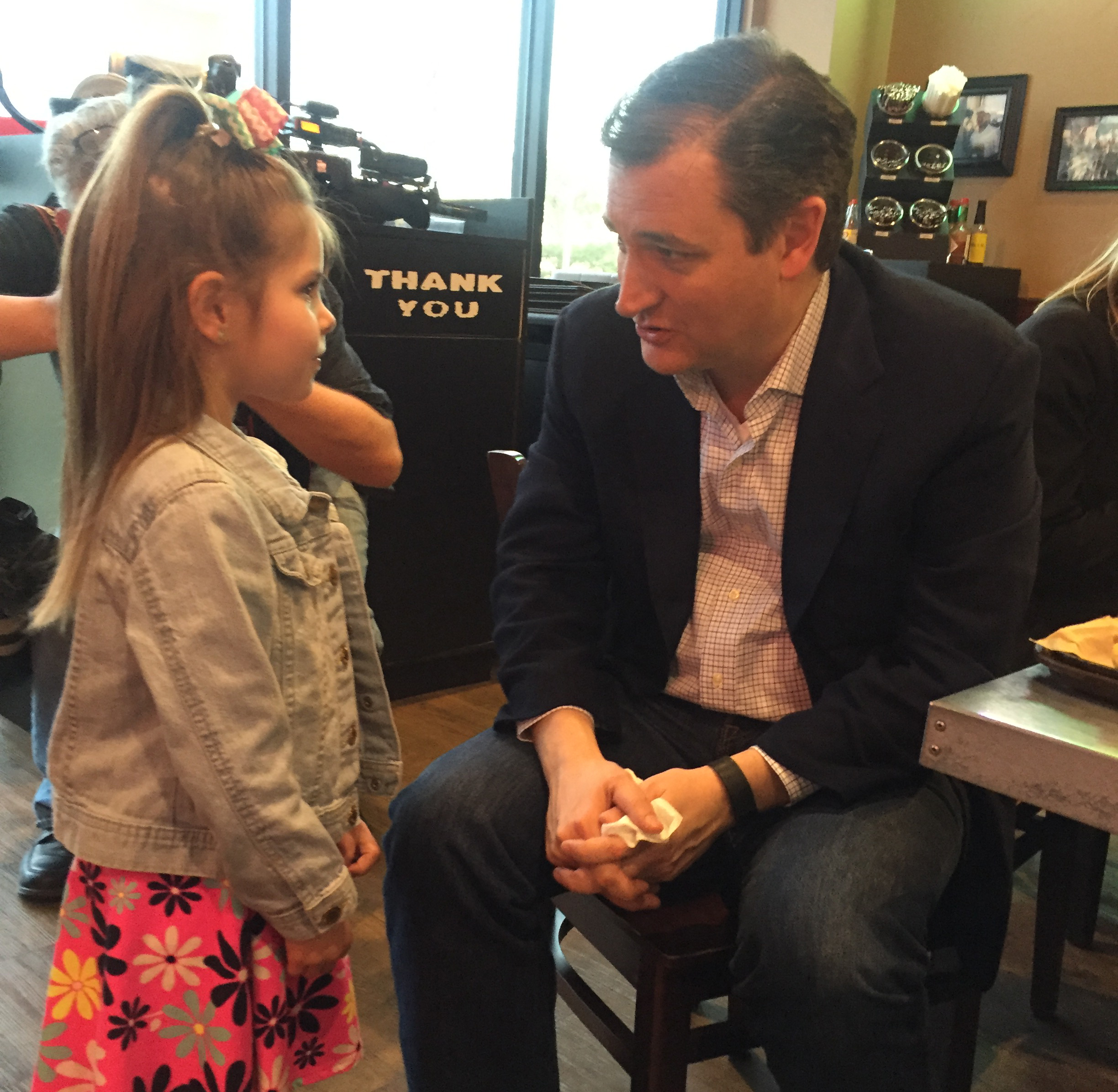 She might not be able to vote, but Cruz still took time to speak to this future voter.