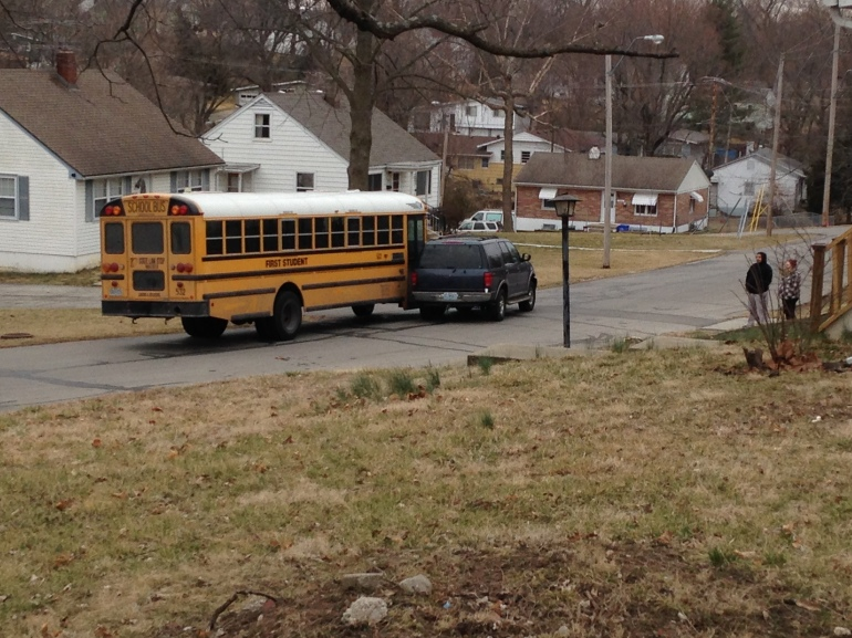 A bus carrying 24 middle school students collided with an SUV Wednesday morning near 38th and Hardy.