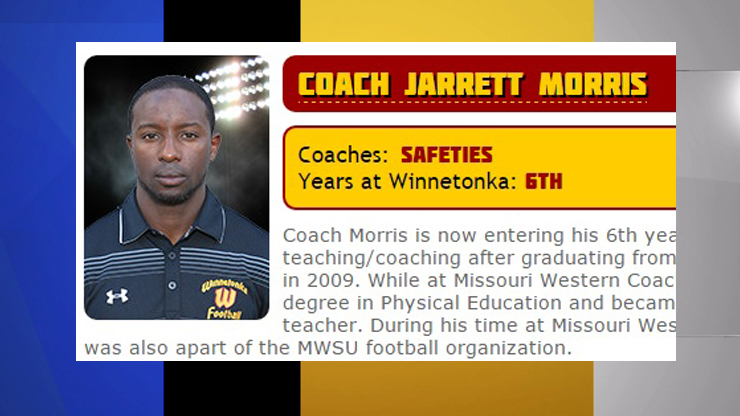 Former Winnetonka football coach Jarrett Morris faces 3 criminal charges related to alleged inappropriate sexual behavior with students. The photo is a screengrab of his biography as it used to appear on Winnetonka's football website.