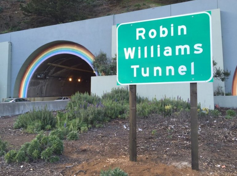 Signs recently went up for the Robin Williams tunnel, just north of the Golden Gate Bridge. (Photo: Caltrans)