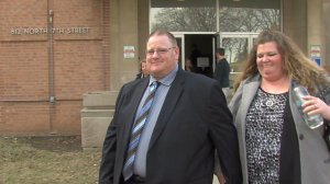 Scott Wood leaving the courthouse during the trial.