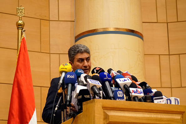 CAIRO, EGYPT - MAY 19: Minister of Civil Aviation, Sherif Fathy, delivers a press conference on May 19, 2016 in Cairo, Egypt. EgyptAir flight MS804 from Paris to Cairo carrying 66 passengers and crew vanished over the eastern Mediterranean last night. (Photo by David Degner/Getty Images)