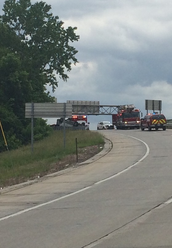 A vehicle overturned along the ramp from northbound I-35 to Southwest Boulevard Friday afternoon.