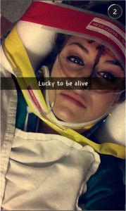 Christal McGee Shortly After Accident – Snapchat (Credit: MLN Law)
