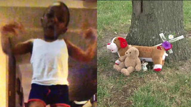 Teddy bears now line the spot where 4-year-old Mahsaan Kelley-Wilson was shot and killed.