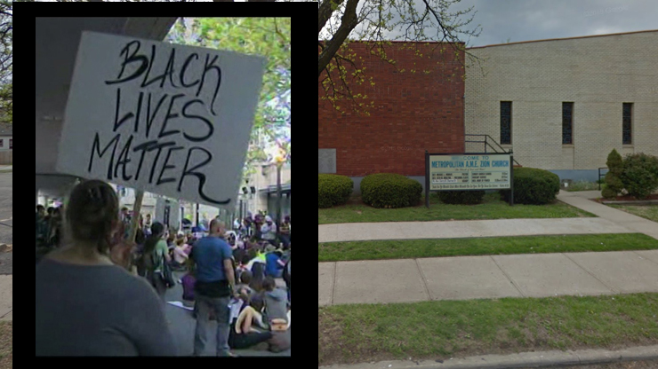 Demonstrators will gather at AME Church. Image of Black Lives Matter protest is from May 2015.