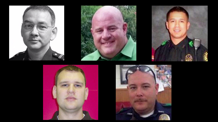 Slain officers in Dallas sniper attack Top left: Michael Smith,55 Middle top: Lorne Ahrens,48 Top right: Patrick Zamarripa,32 Bottom left: Michael Krol,40 Bottom right: Brent Thompson,43