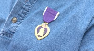 Fulton's Purple Heart, which he received after being wounded in the head and legs in Vietnam.
