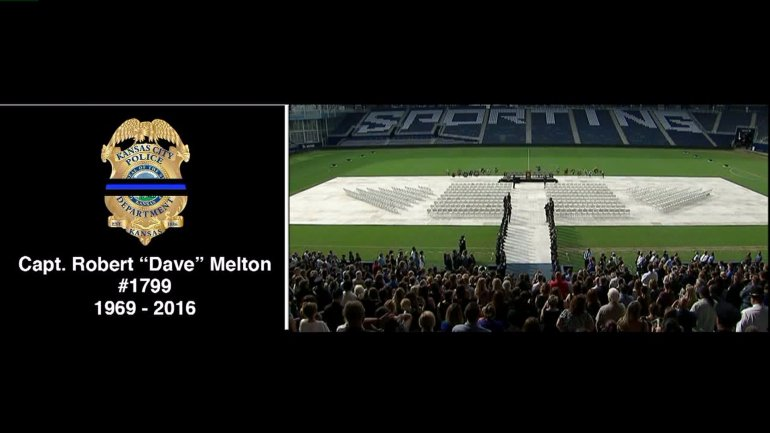 Capt. Melton's funeral at Sporting Park.