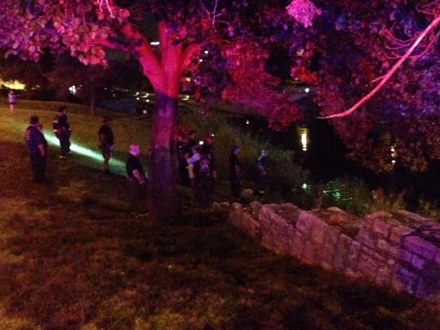 Water rescue underway at Brush Creek early Tuesday morning.