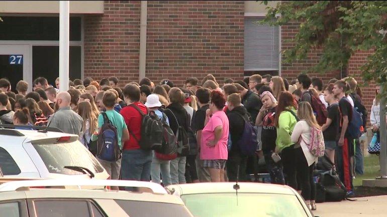Wednesday morning vigil at Harrisonville High School.