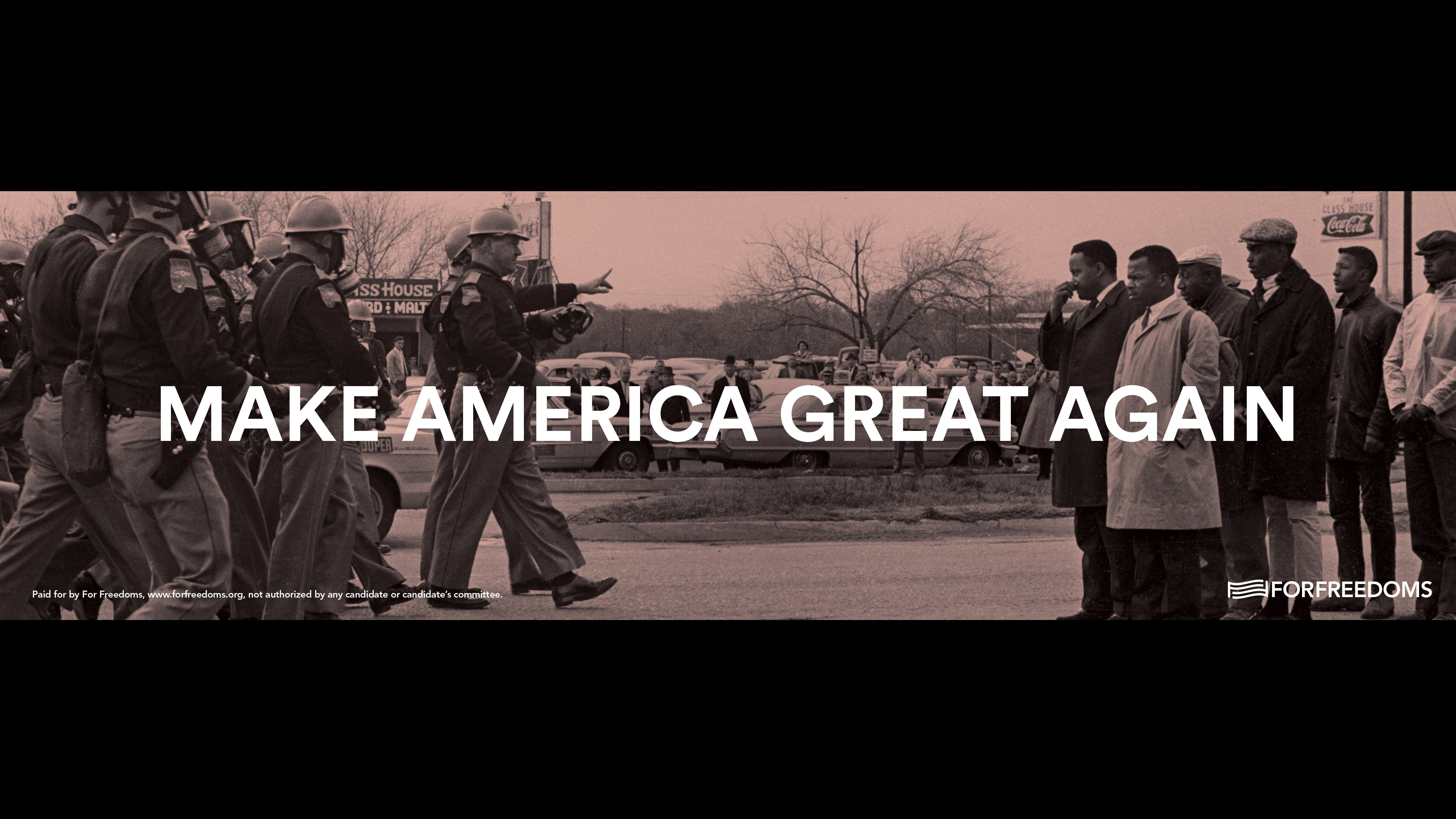 """A provocative roadside billboard in Mississippi that mixes art and politics has united onlookers in anger and confusion. The sign on Highway 80 outside Pearl features President-elect Donald Trump's campaign slogan, """"Make America Great Again,"""" superimposed on a well-known Civil Rights-era image by photographer Spider Martin."""