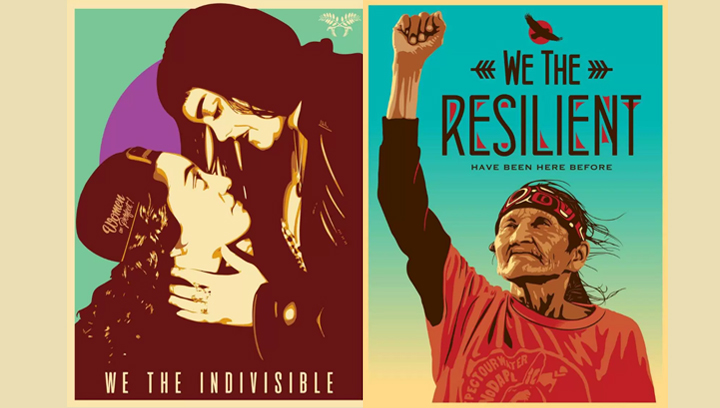 """We The Indivisible"" by Jessica Sabogal and ""We The Resilient"" by Ernesto Yerena"